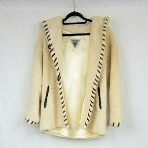 Vtg Marvin Richards Sherpa Coat w/Hood S